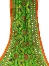 Load image into Gallery viewer, Multicolour Kutchi Embroidered Dupatta in Parrot Green