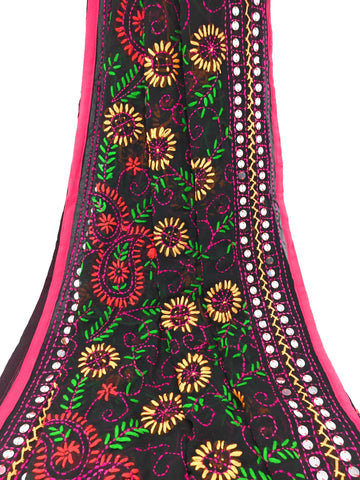 Black Embroidered Georgette dupatta