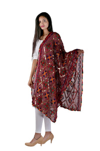 Maroon Embroidered Dupatta
