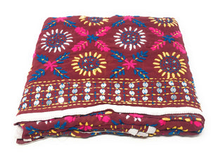 Hand Embroidery Phulkari  Georgette Dupatta in Maroon n White Colour