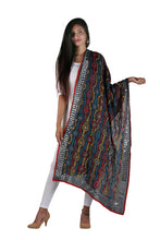 Load image into Gallery viewer, Black Orange Phulkari Handwork Dupatta