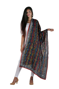 Black Orange Phulkari Handwork Dupatta