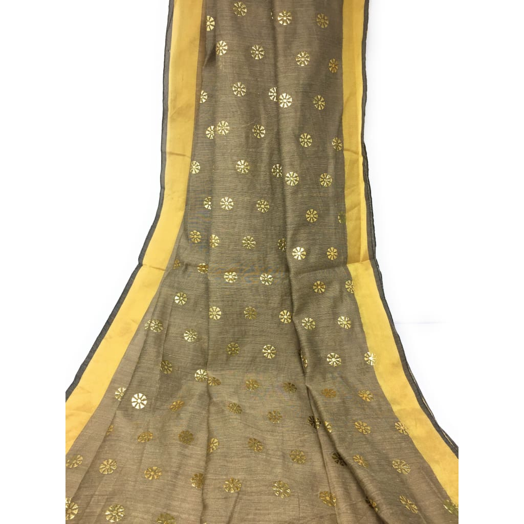 Beige Dupatta with Gold Foil Print Work - chanderi dupatta gold foil print dupatta