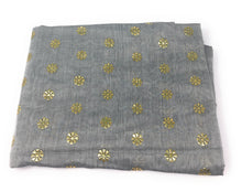Load image into Gallery viewer, grey-gold-chanderi-cotton-dupatta
