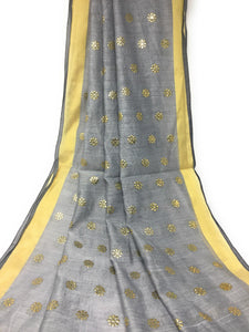 Grey Gold Dupatta Chunni