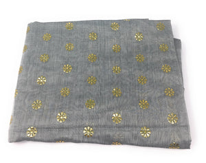 Grey Dupatta with Gold Foil Print Work
