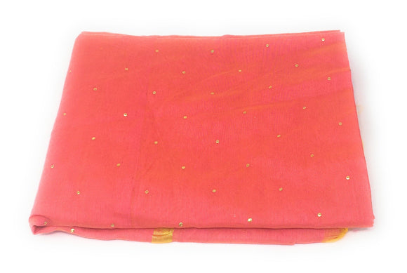 Peach Pink Dupatta with Gold Foil Print Work