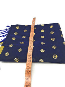 Navy Blue Dupatta with Gold Foil Print Work