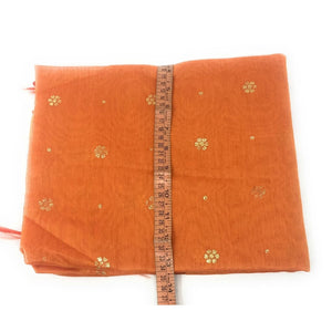 Orange Chanderi Dupatta With Gold Foil Print - chanderi dupatta gold foil print dupatta