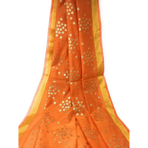 Orange Chanderi Cotton Dupatta With Gold Foil Print - chanderi dupatta gold foil print dupatta