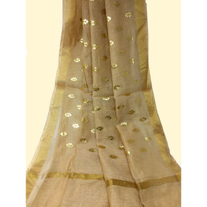 Beige Cotton Chanderi Dupatta With Gold Foil Print - chanderi dupatta gold foil print dupatta