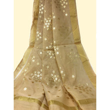 Load image into Gallery viewer, Beige Chanderi Dupatta With Gold Foil Print - chanderi dupatta gold foil print dupatta