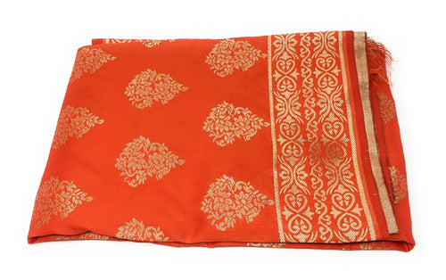 Flower Design Orange Dupatta