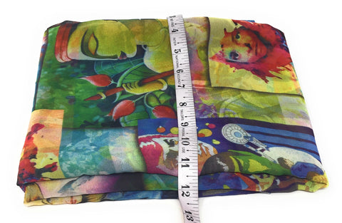 Image of Multicolour Art Print Georgette Fabric