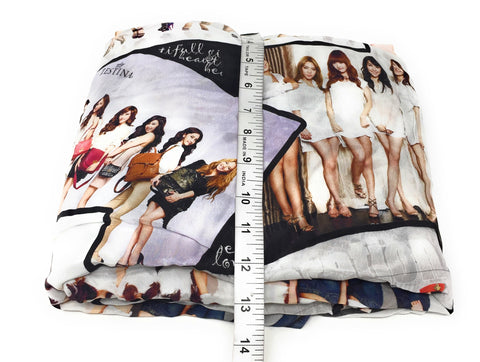 Image of Off White Cute Girls Print Georgette Fabric