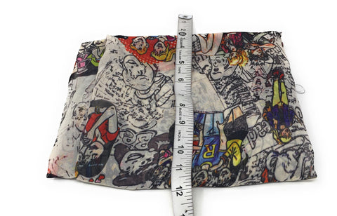 Off White n Multicolour Archie Printed Georgette Fabric