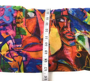 Multicolour Abstract Art Print Georgette Fabric