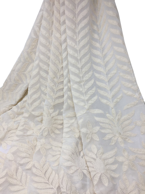 White self on self embroidered Dyeable Georgette Fabric - 2 meter