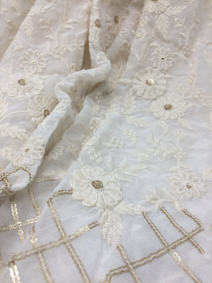 White Embroidered Georgette Fabric with Golden Sequin - 3 Meter