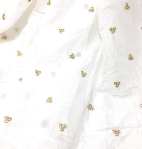 Image of Dyeable White Emroidered Chiffon Fabric