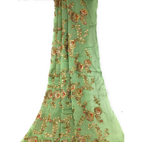 Beautiful Unstitched Kurti Material in Chiffon Gold Embroidery (Peach Green Sandal Colours) - Pista Green / 1 METER - BLOUSE - fabric