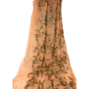 Beautiful Unstitched Kurti Material in Chiffon Gold Embroidery (Peach Green Sandal Colours) - Peach / 1 METER - BLOUSE - fabric