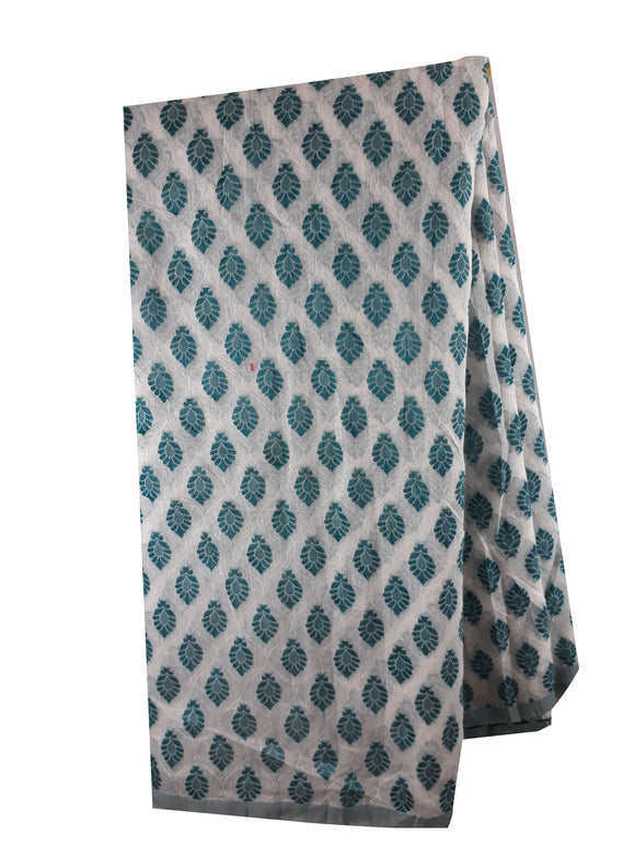 Fabric by metre 100% cotton white Sea green jacquard embroidery dress material
