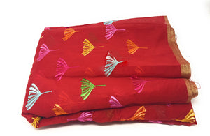Cotton Mix Chanderi Embroidery Cloth Material
