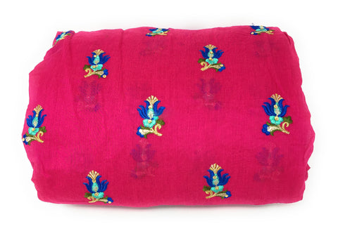 Image of Rani Pink Chanderi Cotton Fabric By Meter Blue Tulip Embroidery Dress Material