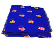 Load image into Gallery viewer, Blue Chanderi Cotton Fabric By Meter Orange floral Blue Embroider Dress Material
