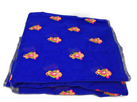 Image of Blue Chanderi Cotton Fabric By Meter Orange floral Blue Embroider Dress Material