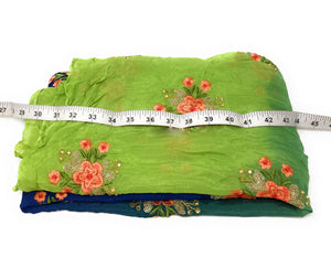 online designer fabric store india embroidery cloth materials Chiffon Blue, Green, Peacock Green 44 inches Wide 1717