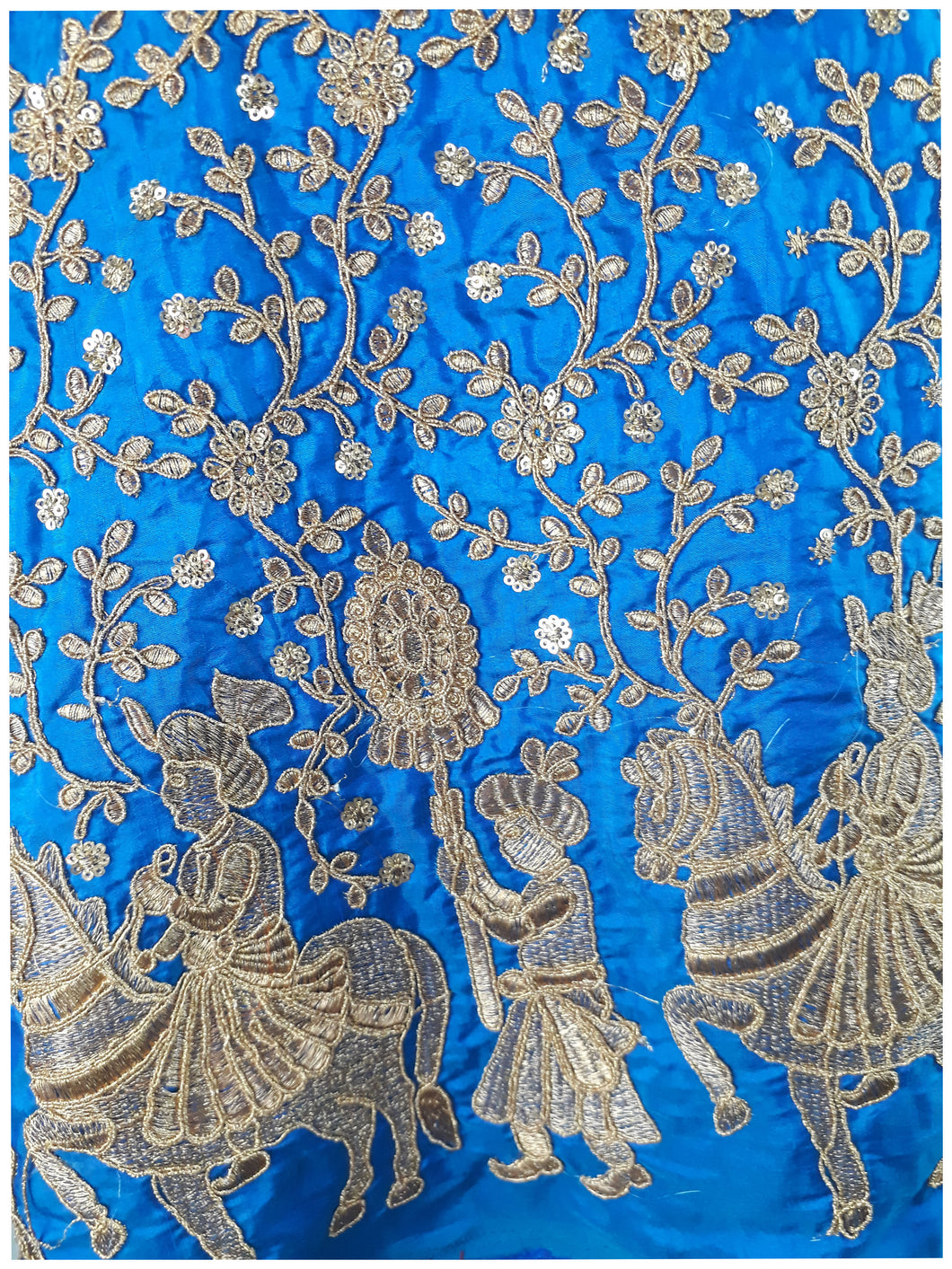 Cobalt Blue Paper Silk Fabric By Meter Gold Embroidery Dress Material Kurti - Inhika.com