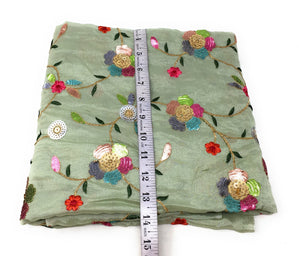 Multicolour Sequins Floral Embroidery On Green Silk Chiffon Fabric Fancy Blouse Pieces Online - 1.5 Meter