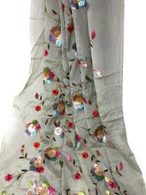 Load image into Gallery viewer, Multicolour Sequins Floral Embroidery On Green Silk Chiffon Fabric