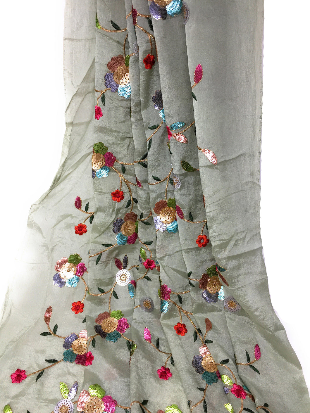 Multicolour Sequins Floral Embroidery On Green Silk Chiffon Fabric