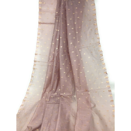 Lavender Pink Brocade Fabric On Chanderi Silk Material Small Gold Butti - fabric Flat Slik Soft Bamboo Slik Fabric with Embroidery n Sequins