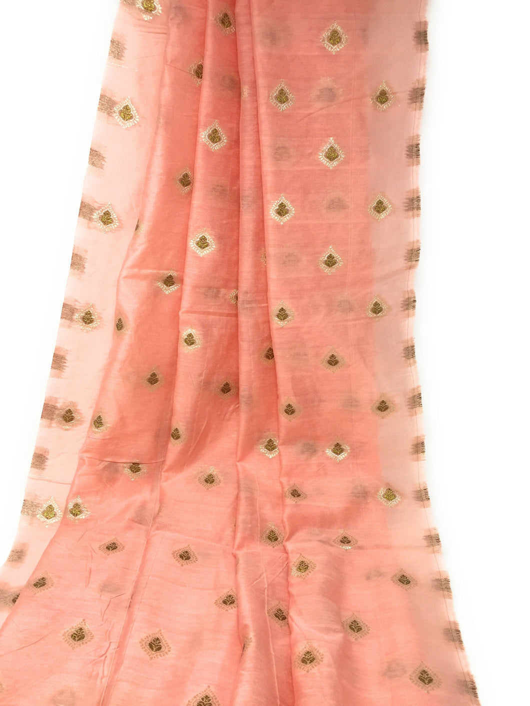 Light Peach Brocade Fabric, Gold Bronze Work