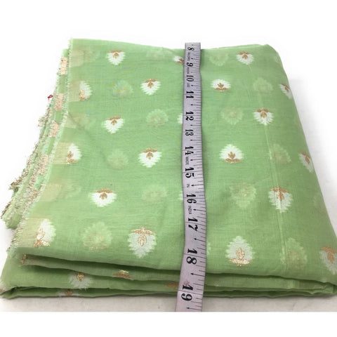 Light Pista Green Brocade Fabric In Pastel Shade - fabric brocade fabric Soft brocade fabric with design on both end panel and floral design