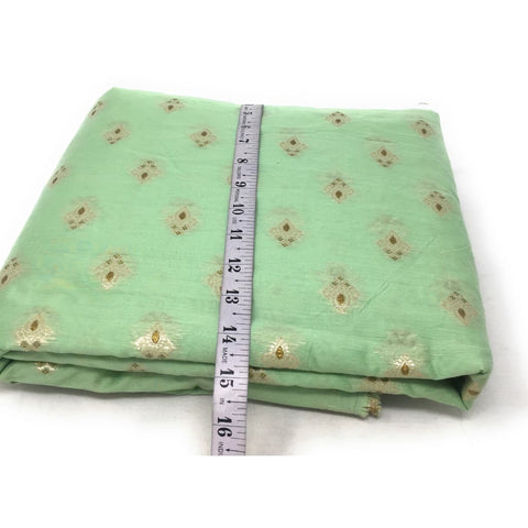 Light Green Brocade Fabric In Pastel Shade Gold N White Work - fabric brocade fabric Soft brocade fabric with design on both end panel and