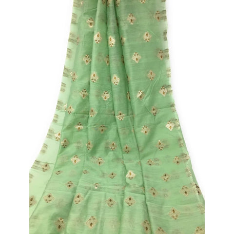 Green cotton dress material with Peach - Dress Material