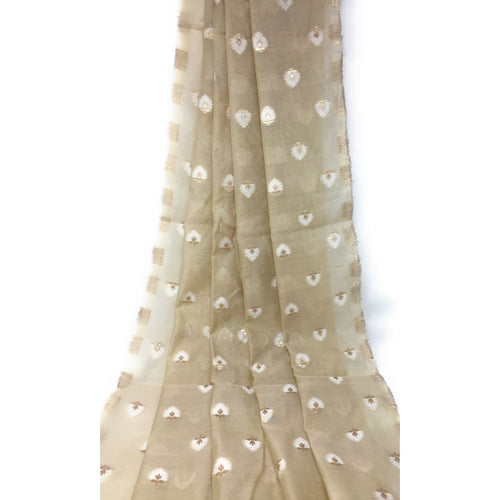 Beige Brocade Fabric Paste Shade Gold White Jacquard Work - fabric brocade fabric Soft brocade fabric with design on both end panel and