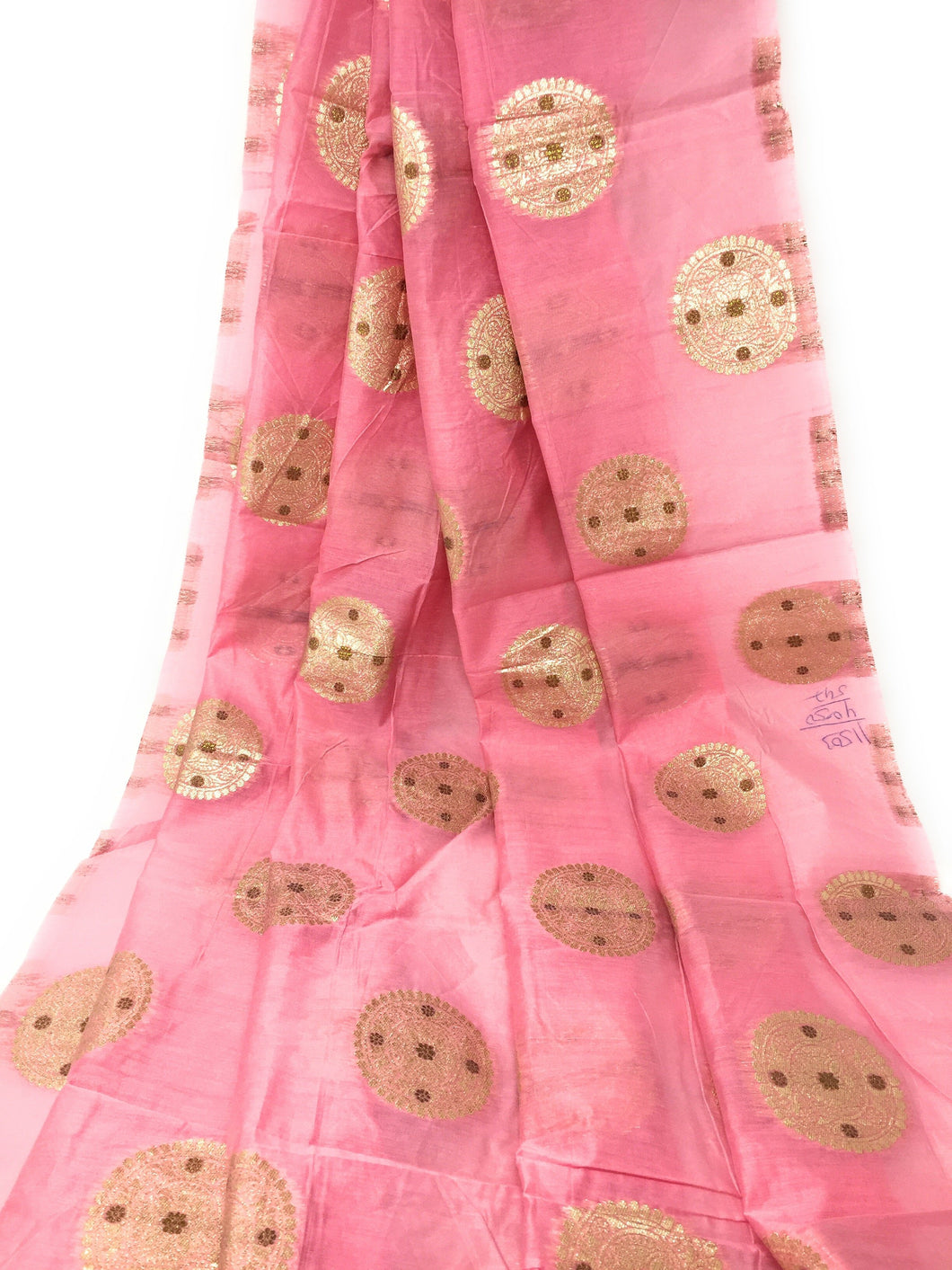 Baby Pink Brocade Jacquard Fabric In Gold N Bronze