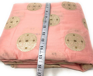 Light Peach Brocade Fbaric With Floral Motifs Cloth Online - 1.5 Meter