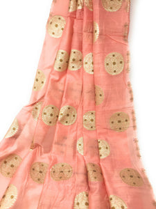 Light Peach Brocade Fbaric With Floral Motifs