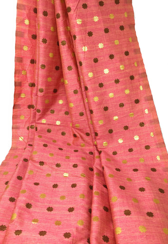 Pink Brocade Material With Gold Bronze Jacquard Work