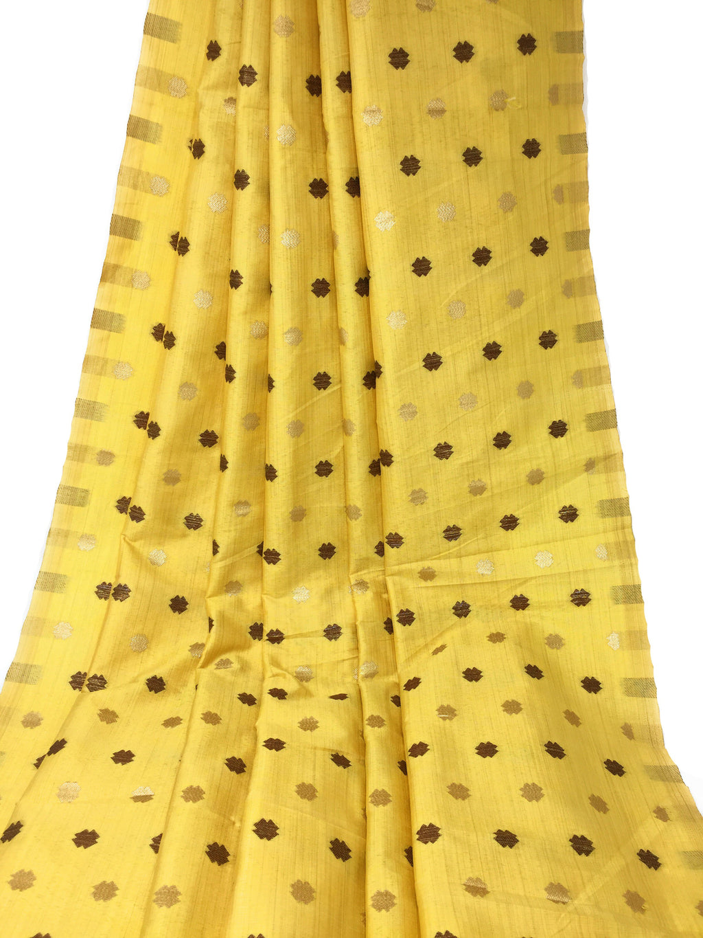 Yellow Polyester Brocade Fabric, Gold Bronze Work