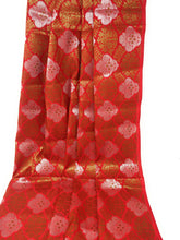 Load image into Gallery viewer, Red Floral Brocade Fabric, Silver Gold Jacquard Work