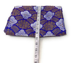 Blue Brocade Fabric, Silver Gold Jacquard Work Cloth Online - 1.5 Meter