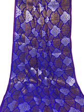 Load image into Gallery viewer, Blue Brocade Fabric, Silver Gold Jacquard Work